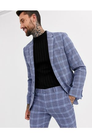 ASOS Wedding super skinny suit jacket in blue wool blend check