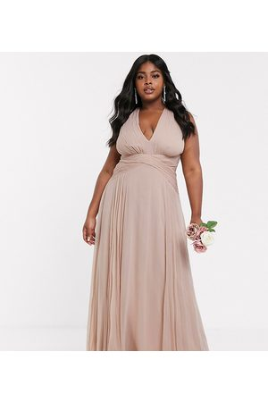 ASOS ASOS DESIGN Curve bridesmaid ruched bodice drape maxi dress with wrap waist