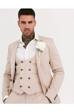 ASOS Wedding super skinny suit jacket in stone stretch cotton