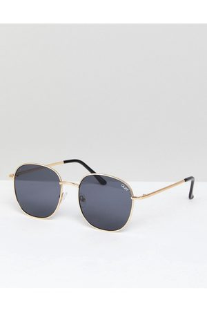 Quay Australia Jezabell round sunglasses in gold/smoke
