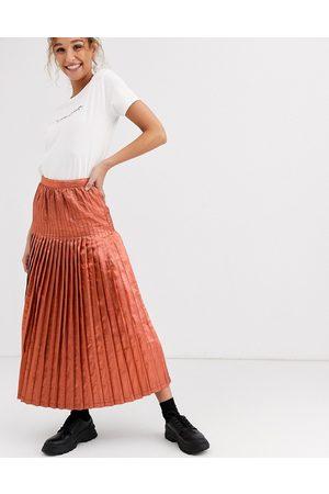 ASOS Metallic pleated maxi skirt