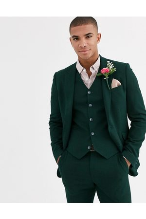 ASOS Wedding super skinny suit jacket in forest green micro texture