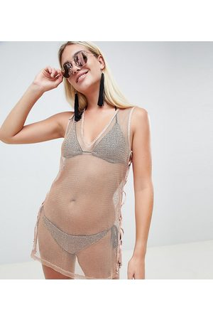 And CO Exclusive metallic mesh pool party dress