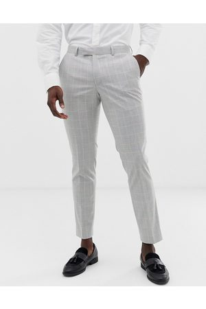 Moss Bros Moss London slim suit trouser in grey windowpane check with stretch