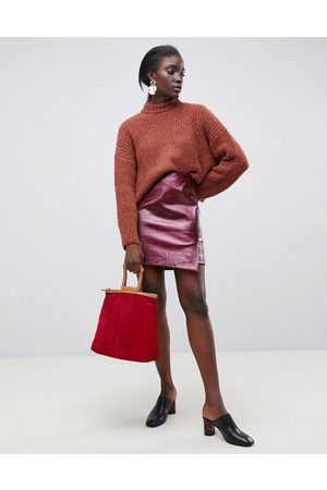 Selected Femme snake print red leather wrap skirt