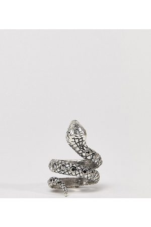 Reclaimed Hombre Anillos - Inspired ring with snake design and stones in silver exclusive at ASOS