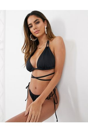 ASOS Recycled fuller bust mix and match sleek triangle multiway bikini top in black dd