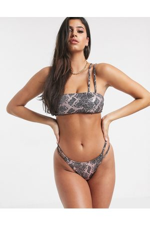 ASOS Double strap high leg hipster bikini bottom in foil snake print