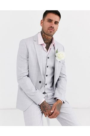 ASOS Hombre Sacos - Wedding slim suit jacket in windowpane check in ice grey