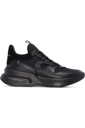 Alexander McQueen Black Oversized Runner leather low top sneakers