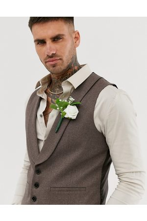 ASOS Wedding skinny suit waistcoat in soft brown twill