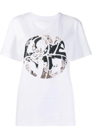 Alberta Ferretti Mujer Playeras - Camiseta estampada con lentejuelas