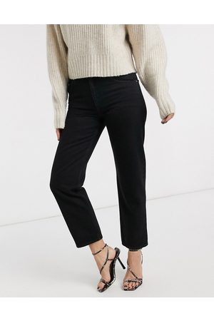 ASOS Mid rise 'off duty' straight leg jeans in washed black