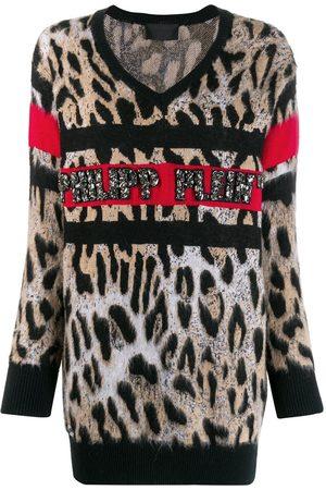 Philipp Plein Mujer Tops - Top con motivo de leopardo y cuello en V