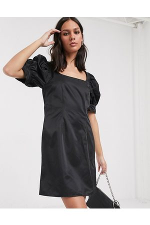 Weekday Delana puff sleeve mini dress in black