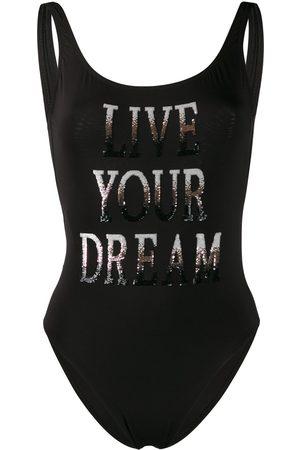 Alberta Ferretti Bañador con eslogan Live Your Dream