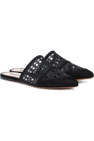 Alaïa Laser-cut mesh and suede slippers