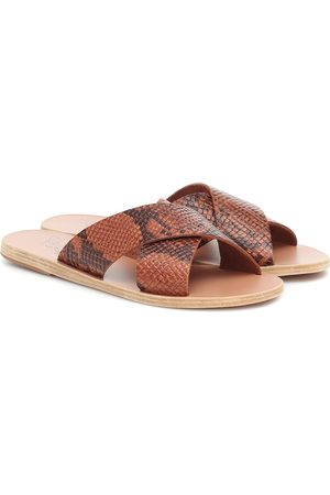 Ancient Greek Sandals Thais snake-effect leather slides