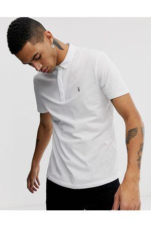 AllSaints Brace ramskull logo polo shirt in white