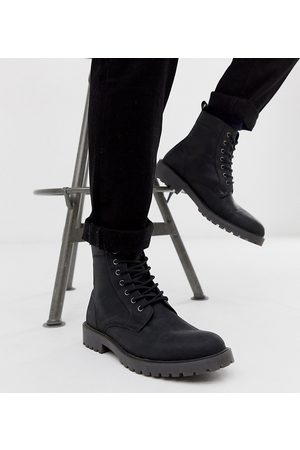 ASOS Wide Fit lace up boots in black leather with chunky sole
