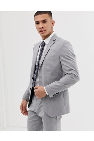 Selected Slim fit suit jacket with stretch in light grey