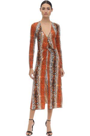 ROTATE Mujer Ajustados y entubados - Shiny Printed Stretch Jersey Midi Dress