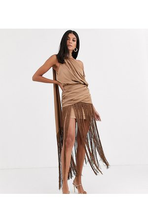 ASOS ASOS DESIGN Tall one shoulder fringe maxi dress with satin top