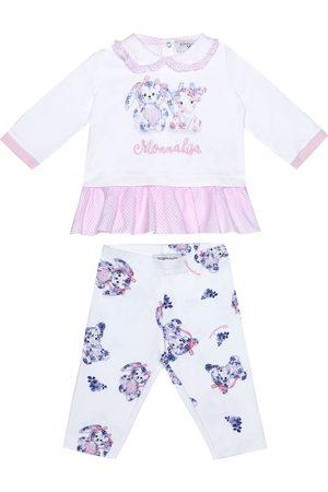 MONNALISA Baby cotton top and leggings set