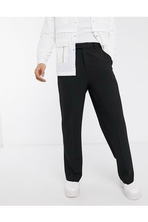 ASOS Hombre Chinos - Wide leg smart trousers in black