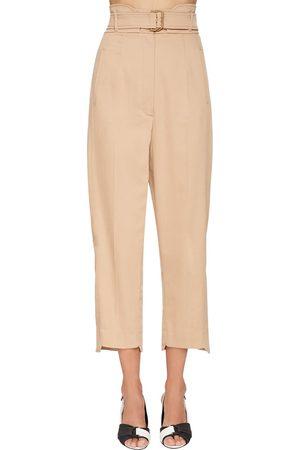 Sportmax High Waist Cotton Gabardine Cargo Pants