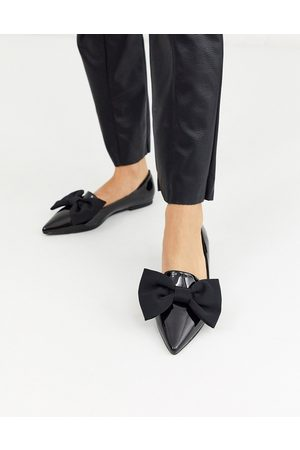 ASOS Lake bow pointed ballet flats in black