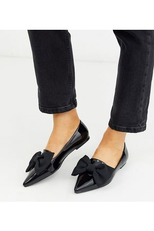 ASOS Wide Fit Lake bow pointed ballet flats in black