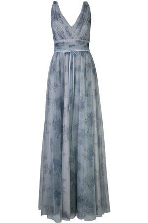 Marchesa Notte Vestido con estampado floral y ribete de tul