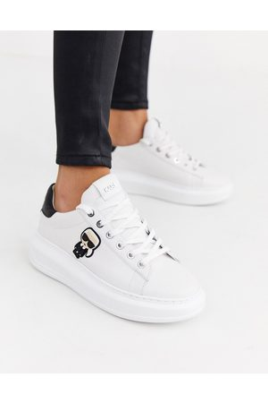 Karl Lagerfeld White leather platform sole trainers with black trim