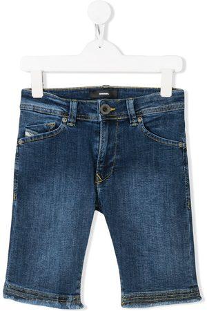 Diesel Niño Bermudas - Shorts de mezclilla con bordes deshilachados