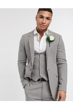 ASOS Wedding skinny suit jacket in grey wool blend micro houndstooth