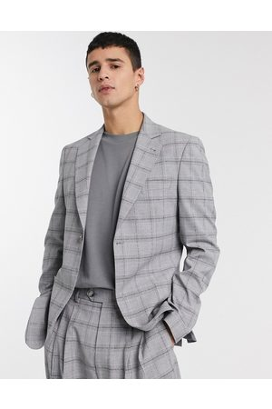 ASOS Slim suit jacket in grey slubby check