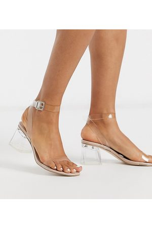 Public Desire Afternoon clear block heeled sandal in patent