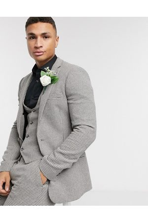 ASOS Hombre Sacos - Wedding super skinny suit jacket in grey wool blend micro houndstooth