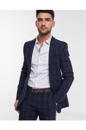 ASOS Super skinny suit jacket in birdseye check in navy