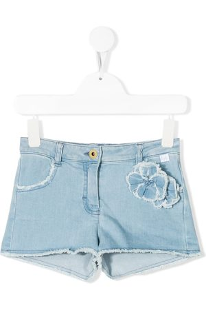 Il gufo Floral appliqué denim shorts