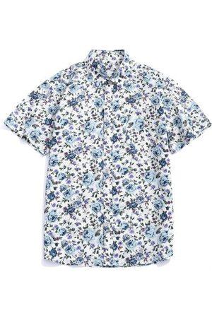 Zaful Hombre Manga corta - Flowers Allover Printed Button Up Shirt