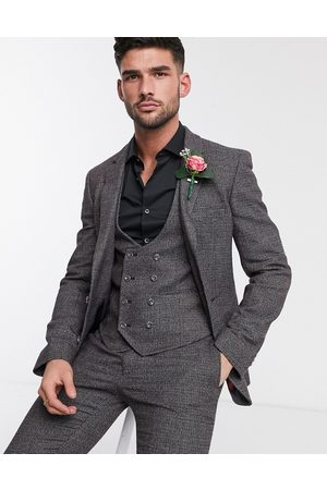 ASOS DESIGN Wedding super skinny suit jacket in charcoal tweed texture