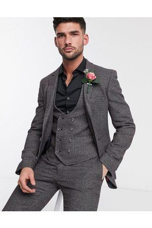 ASOS DESIGN Wedding super skinny suit jacket in charcoal tweed texture