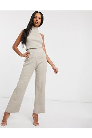 Fashionkilla Knitted flare trouser co ord in oatmeal