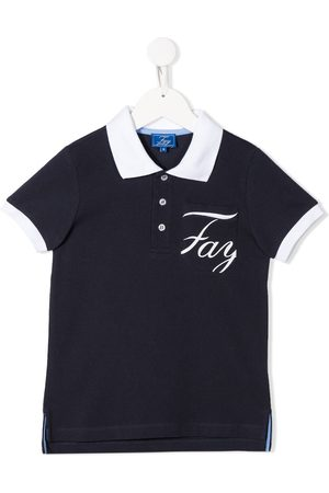FAY KIDS Logo print polo shirt