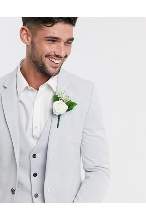 ASOS Wedding super skinny oxford blazer in ice grey