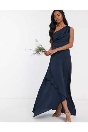 TFNC Bridesmaid one shoulder maxi dress in navy