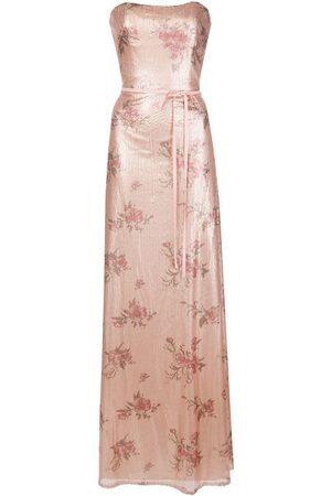 Marchesa Notte Vestido con lentejuelas y estampado floral