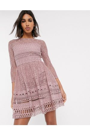 ASOS DESIGN Premium lace mini skater dress in mink